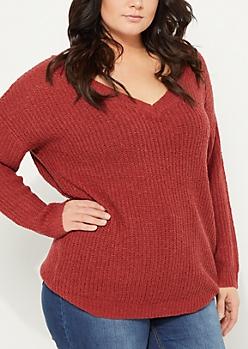 Plus Burgundy Double V-Neck Knit Sweater