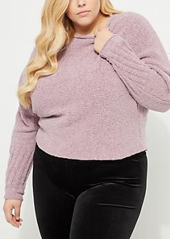 Plus Purple Soft Knit Metallic Sweater