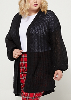 Plus Black Boucle Knit Slouchy Cardigan