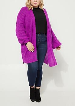 Plus Purple Boucle Knit Slouchy Cardigan