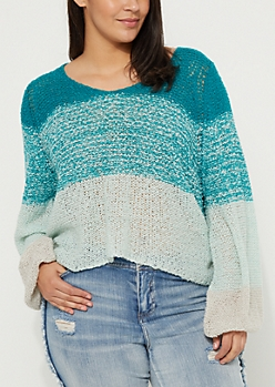 Plus Blue Ombre Boucle Sweater