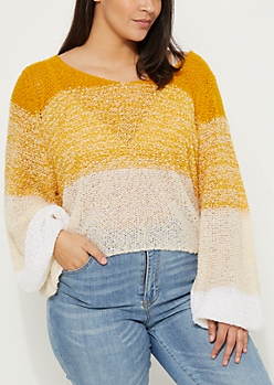 Plus Yellow Ombre Boucle Sweater