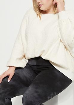 Plus Ivory Marled Knit Sweatshirt