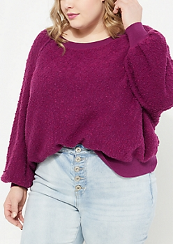 Plus Black Marled Knit Sweatshirt