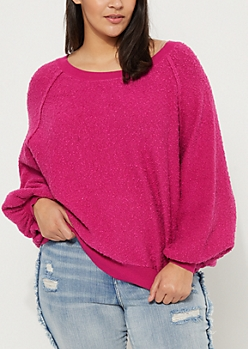 Plus Fuchsia Marled Knit Sweatshirt