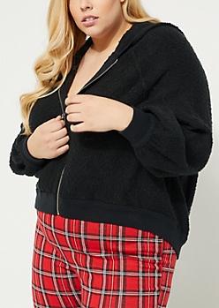 Plus Black Flocked Knit Boxy Hoodie