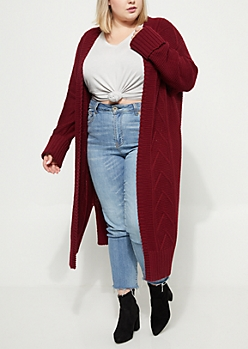 Plus Burgundy Cable Knit Duster Cardigan