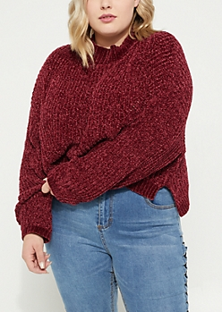Plus Burgundy Crop Chenille Knit Sweater