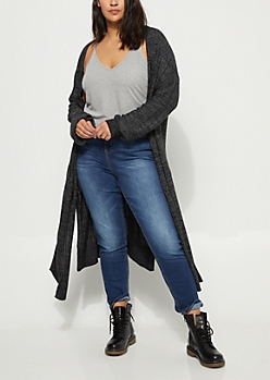 Plus Black Cozy Knit Duster Cardigan
