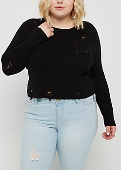 Plus Black Ripped Crop Sweater