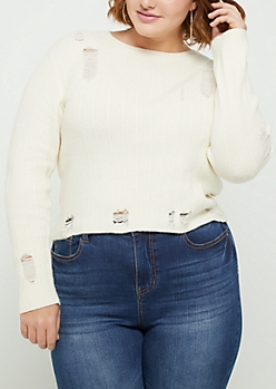 Plus Ivory Ripped Crop Sweater