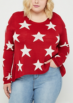Plus Starry Distressed Crop Sweater