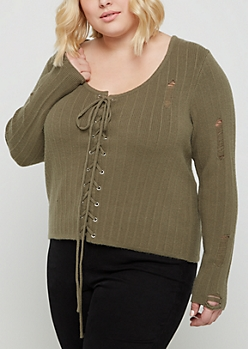 Plus Olive Lace Up Distressed Sweater