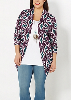 Plus Purple Hacci Aztec Wrap
