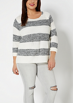 Plus Black Striped Skimmer Sweater