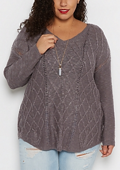 Plus Charcoal Cable Knit V-Neck Sweater