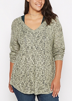 Plus Green Marled Cable Knit Sweater
