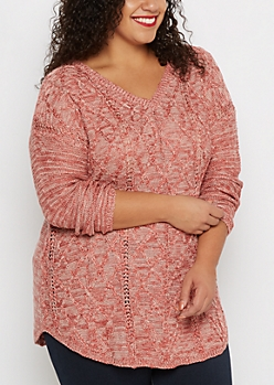 Plus Pink Marled Cable Knit Sweater
