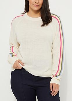 Plus Ivory Rainbow Sleeve Sweater