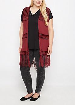 Plus Burgundy Crochet Hanky Fringed Cardigan