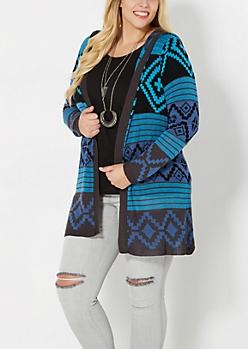Plus Blue Hooded Aztec Cardigan
