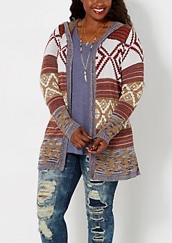 Plus Tan Hooded Aztec Cardigan