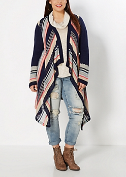 Plus Navy Angled Stripe Long Hem Cardi