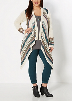 Plus Tan Angled Stripe Long Hem Cardi