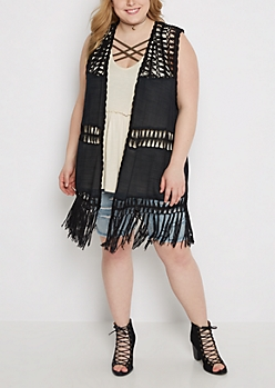 Plus Black Crochet Medallion Vest