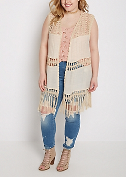 Plus Tan Crochet Medallion Vest