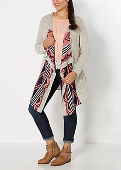 Plus Navy Cascading Aztec Hooded Wrap
