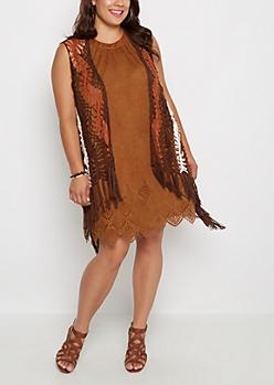 Plus Brown Crochet Fringe Vest