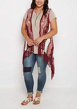 Plus Burgundy Crochet Fringe Vest