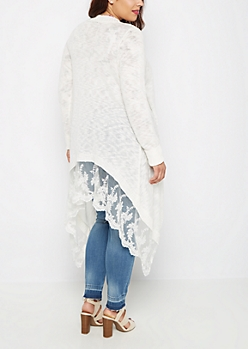 Plus Lace Mesh Border Slub Cardi