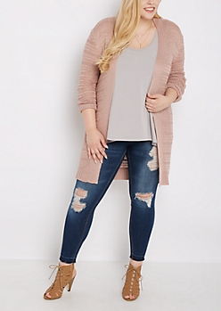 Plus Pink Yarn Knit Cardigan Duster