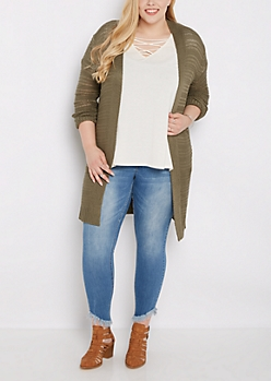 Plus Olive Yarn Knit Cardigan Duster