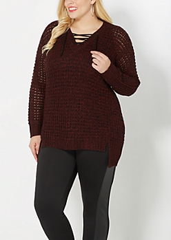 Plus Burgundy Laced Yoke Sweater