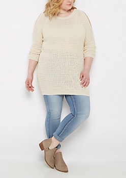 Plus Oatmeal Waffle Knit Cold Shoulder Sweater