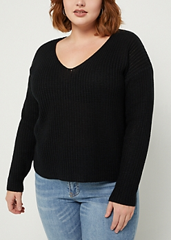 Plus Black Boxy Knit Sweater