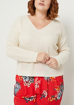 Plus Ivory Boxy Knit Sweater