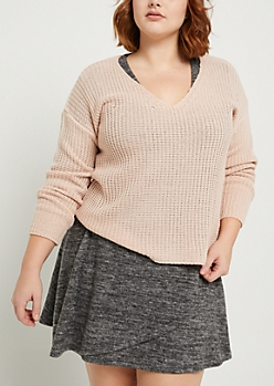 Plus Pink Boxy Knit Sweater