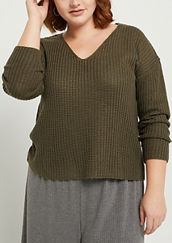 Plus Olive Boxy Knit Sweater