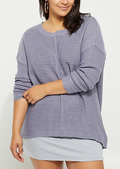 Plus Light Purple High Low Ribbed Front Sweater