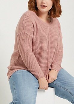Plus Pink High Low Ribbed Front Sweater