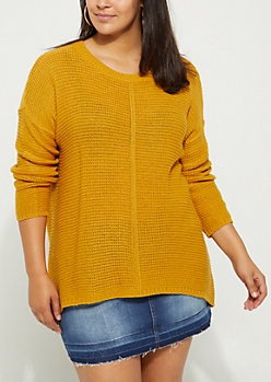 Plus Mustard High Low Ribbed Front Sweater