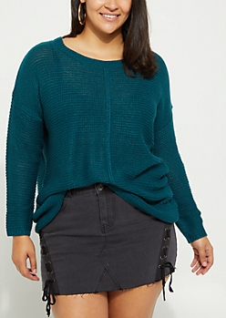 Plus Teal High Low Ribbed Front Sweater