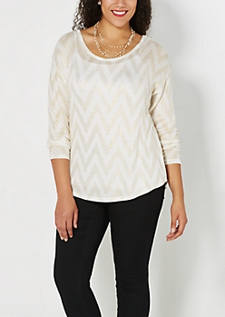 Plus Ivory Gold Chevron Shirttail Sweater