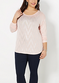 Plus Pink Silver Chevron Shirttail Sweater
