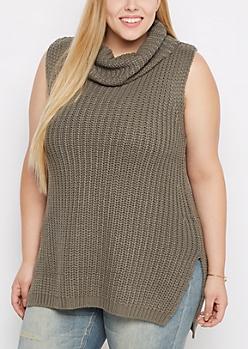 Plus Olive Cowl Neck Sleeveless Sweater