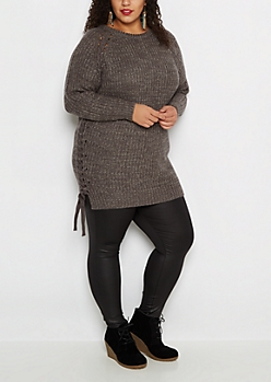 Plus Charcoal Lace-Up Tunic Sweater